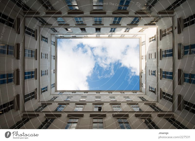 Sky Window Architecture Building Facade Tall Large Perspective Square Worm's-eye view Symmetry Vienna Places Interior courtyard Direction