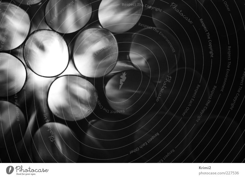 drinking tube Pipe Straw Plastic Round Gray Black White Black & white photo Interior shot Close-up Detail Abstract Pattern Structures and shapes Deserted