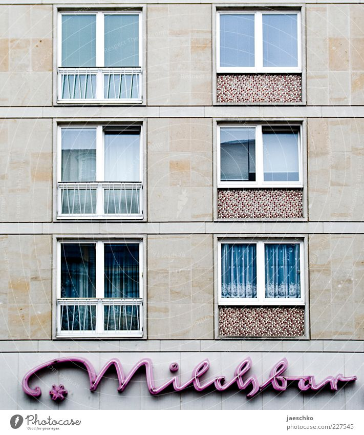 Old House (Residential Structure) Window Architecture Line Germany Pink Facade Signs and labeling Characters Gloomy Retro Letters (alphabet) Gastronomy Past
