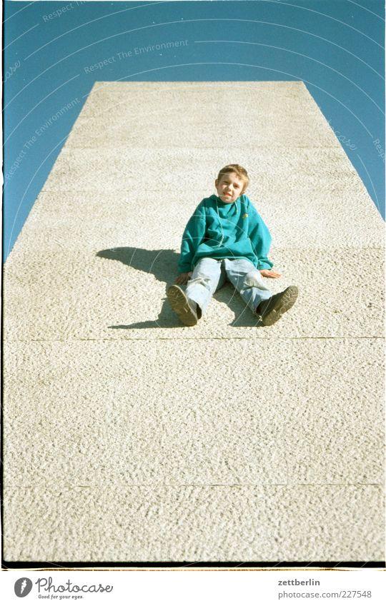Child Blue Green Summer Joy Boy (child) Funny Infancy Sit Wait Trip Concrete Masculine Cool (slang) Tilt 8 - 13 years