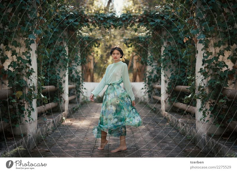 Barefoot woman wearing romantic clothes in pretty garden Human being Youth (Young adults) Old Young woman Beautiful Green Sun Flower 18 - 30 years Adults Yellow