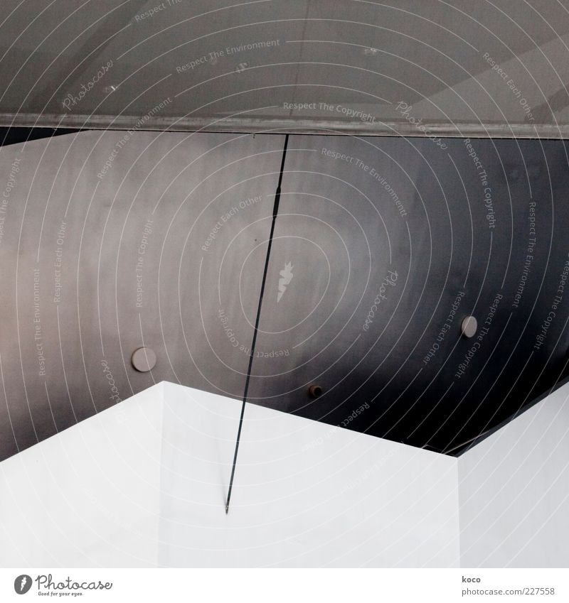 semicolon Work of art Wall (barrier) Wall (building) Facade Roof Concrete Metal Steel Line Triangle Esthetic Cool (slang) Sharp-edged Simple Point Gray Black