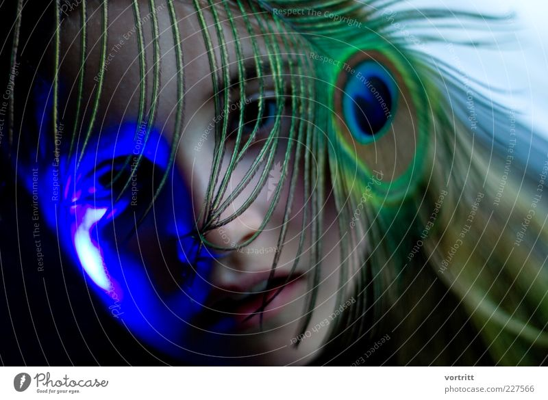 Human being Child Blue Green Girl Feminine Head Art Infancy Feather Kitsch Visual spectacle 8 - 13 years Work of art Peacock feather