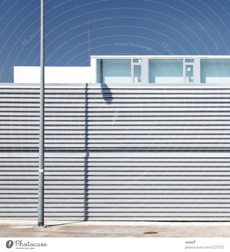 Blue Loneliness House (Residential Structure) Wall (building) Window Above Architecture Wall (barrier) Metal Line Elegant Facade Arrangement Fresh Modern