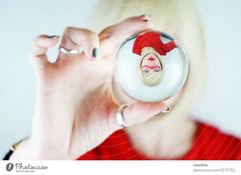 Abstract portrait of a young woman viewed through a crystal ball Human being Youth (Young adults) Young woman Beautiful White Red 18 - 30 years Adults Lifestyle