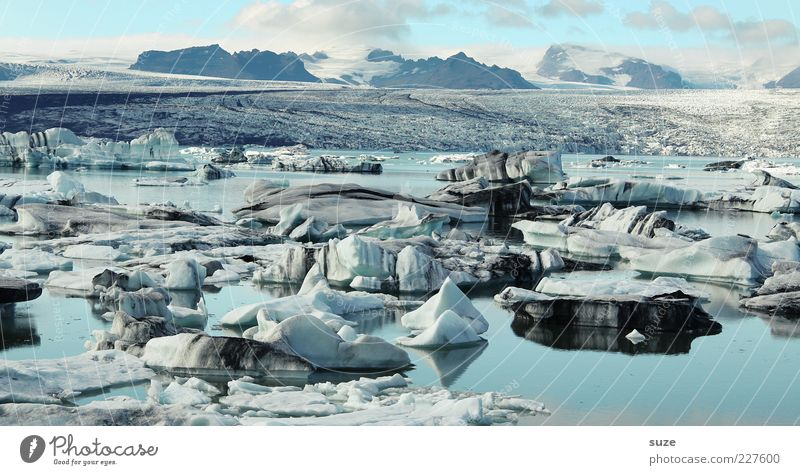 ice world Far-off places Mountain Environment Nature Landscape Elements Water Clouds Climate Climate change Ice Frost Glacier Lake Exceptional Fantastic