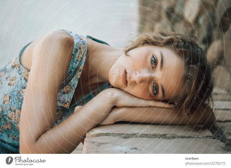 Close up portrait of young woman leaning on a bench Human being Youth (Young adults) Young woman Blue Summer Beautiful Relaxation Loneliness Calm 18 - 30 years
