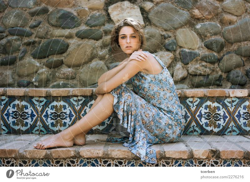 Portrait of a bohemian style young woman sitting on a bench Human being Youth (Young adults) Old Young woman Blue Beautiful Relaxation Loneliness Calm Natural