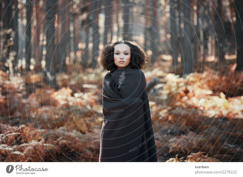 Beautiful woman with afro hair in autumnal forest Human being Nature Youth (Young adults) Young woman Tree Relaxation Forest 18 - 30 years Adults Autumn Natural