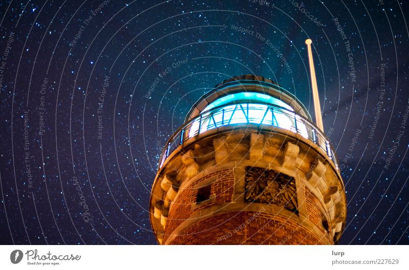 starlight, our local inspiration Sky Lighthouse Blue Kiel Holtenau Beam of light Radiation Stars Starry sky Colour photo Exterior shot Night Night sky Lighting