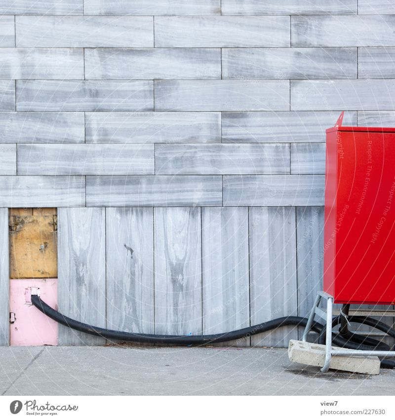 Red House (Residential Structure) Wall (building) Wall (barrier) Stone Metal Line Facade Modern Fresh Energy industry Authentic Electricity Industry Cable Stripe