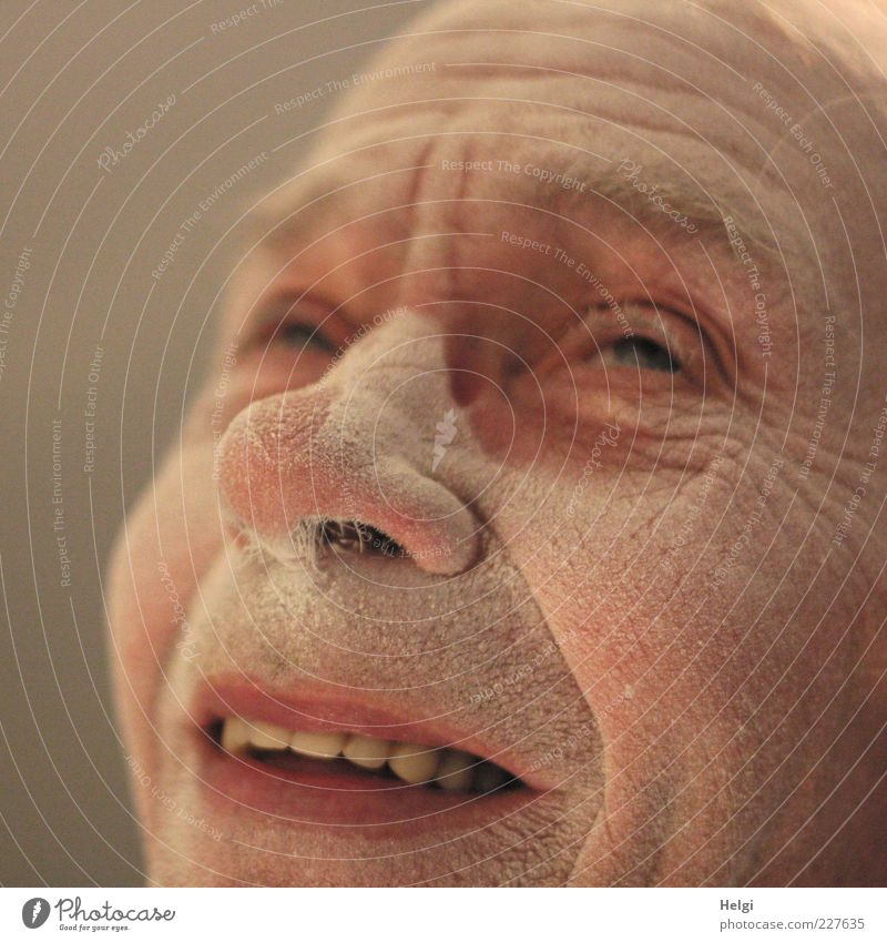 Face of a smiling male senior is covered with dust Human being Masculine Man Adults Male senior Senior citizen Life Skin Head Eyes Nose Mouth Lips Teeth 1