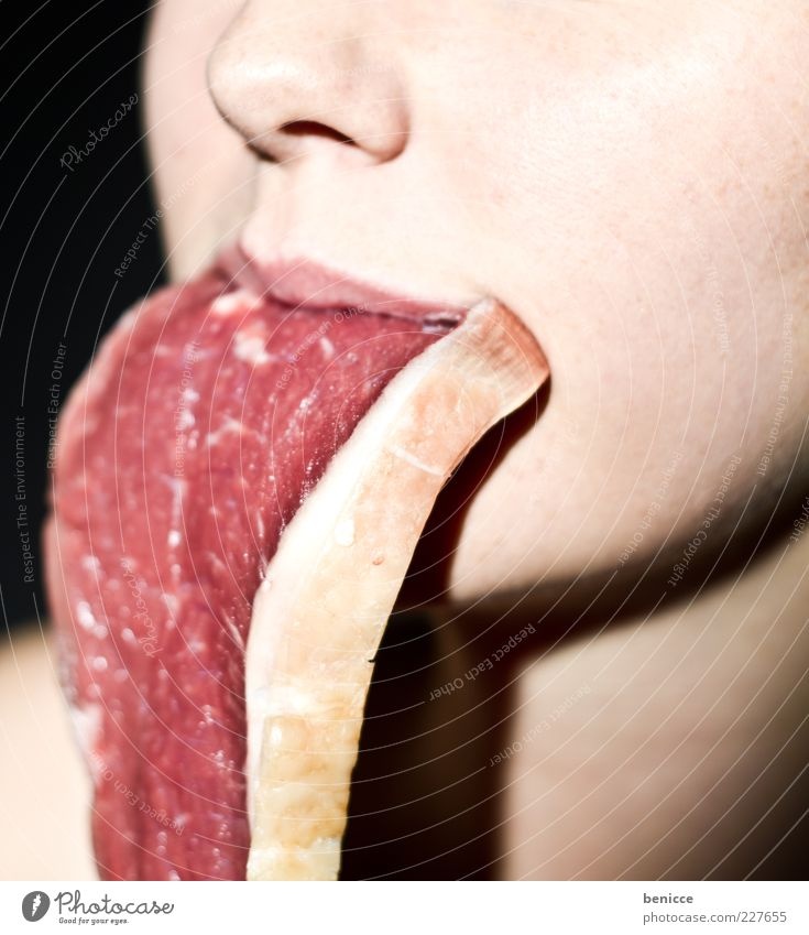 medium Meat Human being Woman Nutrition Eating Raw Steak Escalope Beef Fat Overweight Carnivore Food Abstract Funny Nose Red Tongue Mouth Lips Suspended