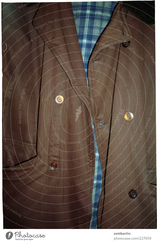 Brown Authentic Clothing Jacket Checkered Buttons Collar Buttonhole Overjacket Men's fashion Off-the-rack