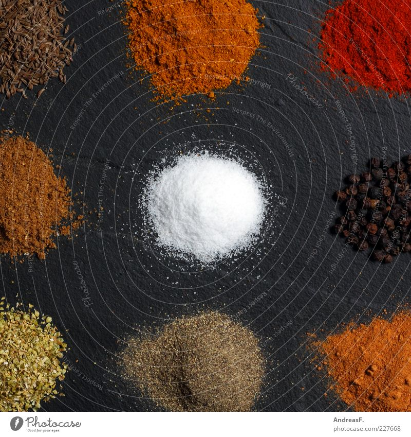 Curry & co. Food Herbs and spices Nutrition Organic produce Asian Food Kitchen Cook Nature Stone Multicoloured Yellow Red Curry powder Cumin Pepper Powder