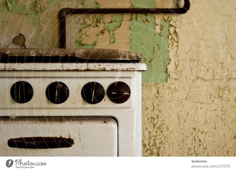 Old Green Yellow Wall (building) Wall (barrier) Dye Brown Dirty Flat (apartment) Broken Retro Kitchen Transience Past Rust Decline