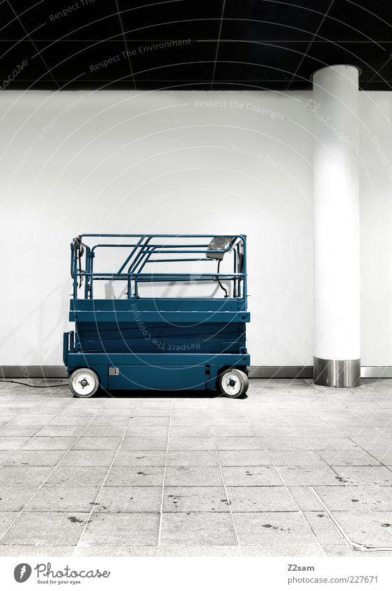 Blue Dark Architecture Building Arrangement Elegant Esthetic Clean Simple Tile Under Services Column Machinery Vehicle Parking