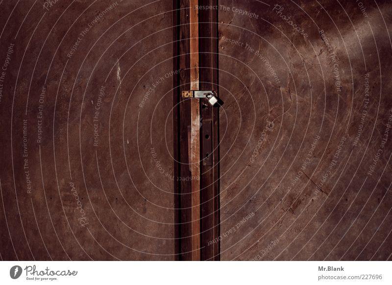 Old Dark Metal Brown Door Dirty Metalware Rust Lock Scratched Padlock