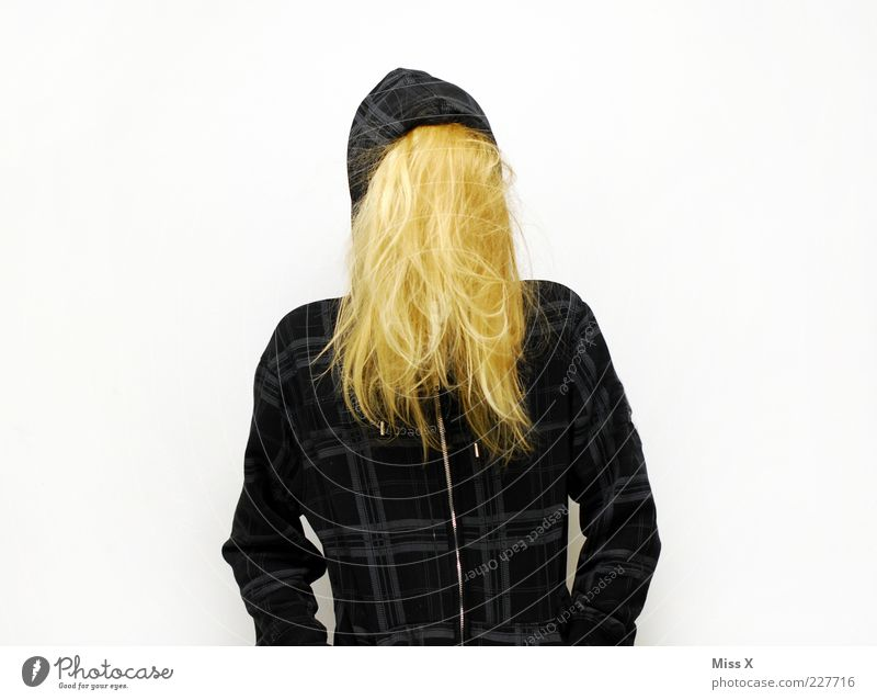 Human being Youth (Young adults) Hair and hairstyles Blonde Clothing Mysterious Jacket Whimsical Hide Long-haired Anonymous Young woman Woman Concealed