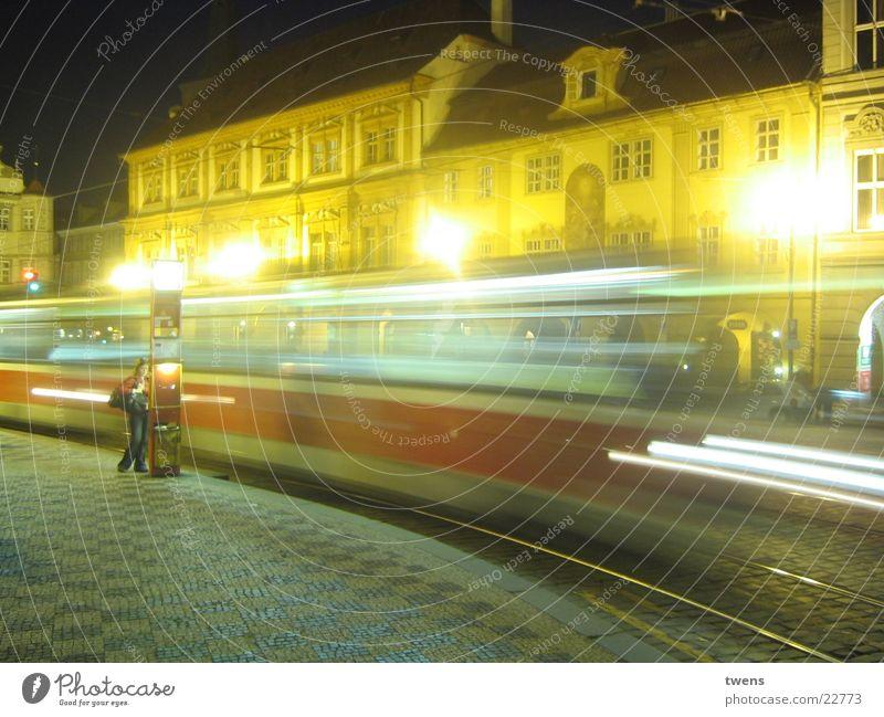 PRAGUE NIGHT Tram Town Bridge Prague praga tramway historic