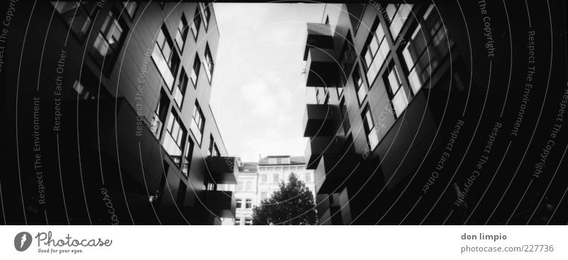hop road House (Residential Structure) St. Pauli Populated Deserted Building Architecture Large Tall Modern New Black White Perspective Change Analog