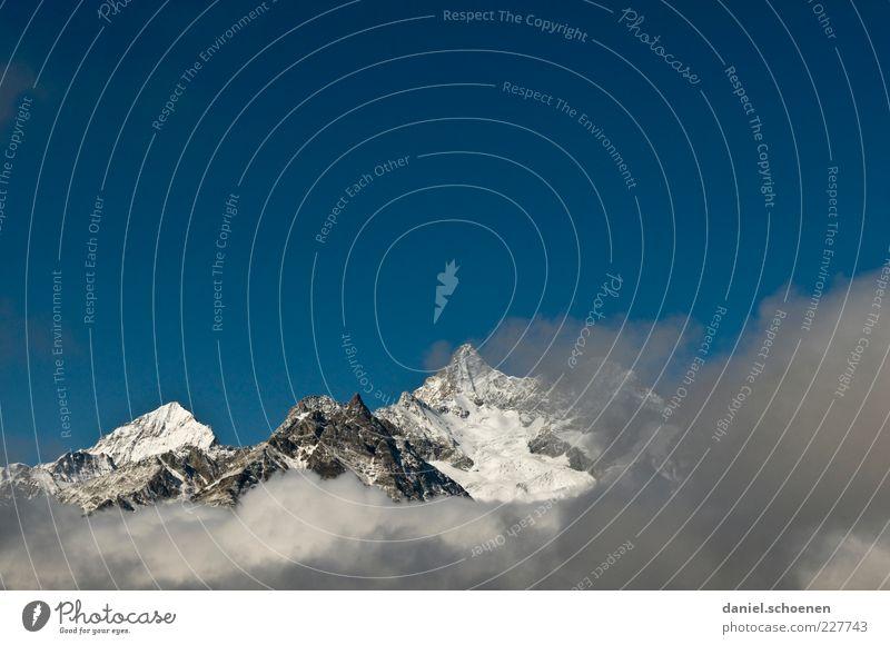 Nature Blue White Far-off places Environment Mountain Landscape Climate Alps Switzerland Peak Beautiful weather Blue sky Snowcapped peak Canton Wallis
