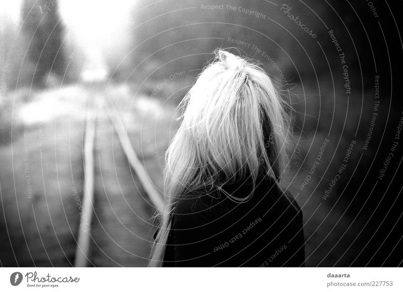 light Woman Human being Nature Youth (Young adults) Autumn Feminine Dream Hair and hairstyles Sadness Contentment Moody Fear Blonde Adults Railroad Experience