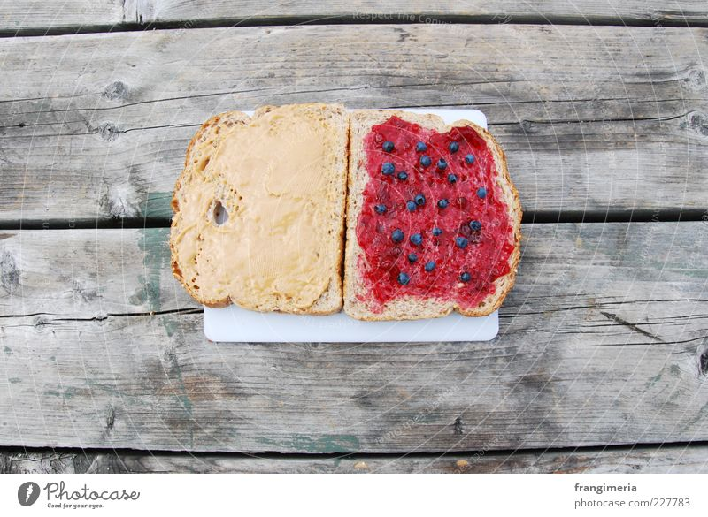 PB & J Food Bread Jam Picnic Wood Natural Yellow Gray Red Appetite Colour photo Exterior shot Close-up Deserted Brunch Bird's-eye view Food photograph Sandwich