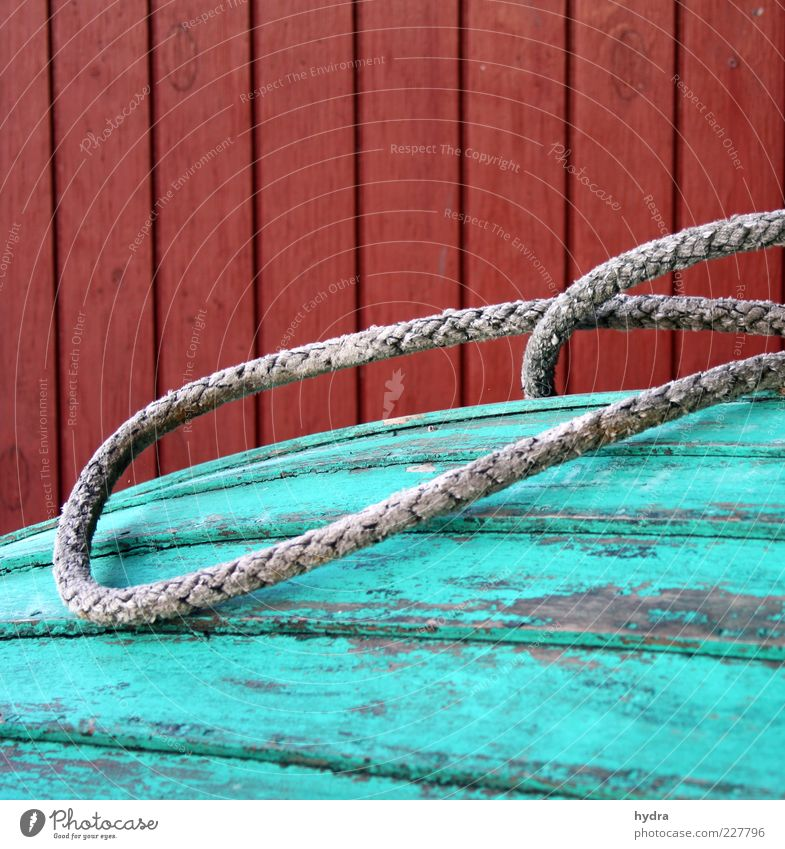 Boat shed döns Boathouse Rope Facade Fishing boat Wood Line Old Esthetic Authentic Simple Green Red Longing Transience Colour Arrangement Moody Symmetry