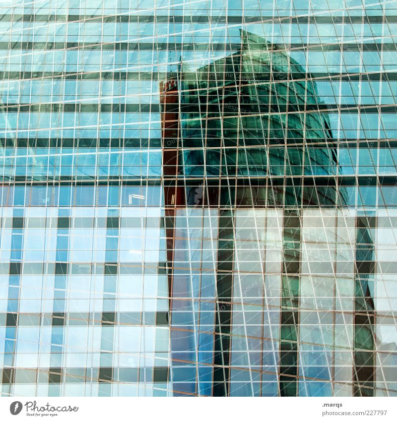 Window Architecture Style Building Line Glass Facade Design High-rise Cool (slang) Change Exceptional Manmade structures Bank building Double exposure
