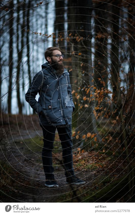 Goldenberg I Style Hiking Human being Masculine Man Adults Body 1 30 - 45 years Environment Nature Landscape Winter Bad weather Tree Grass Bushes Moss Forest