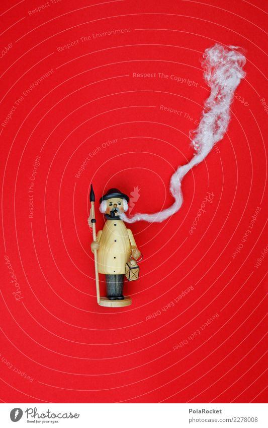 #A# Red Smoker Art Esthetic Christmas & Advent Smoked smoking manikin Smoking Advent Calendar Smoky Cigarette break No smoking Colour photo Multicoloured