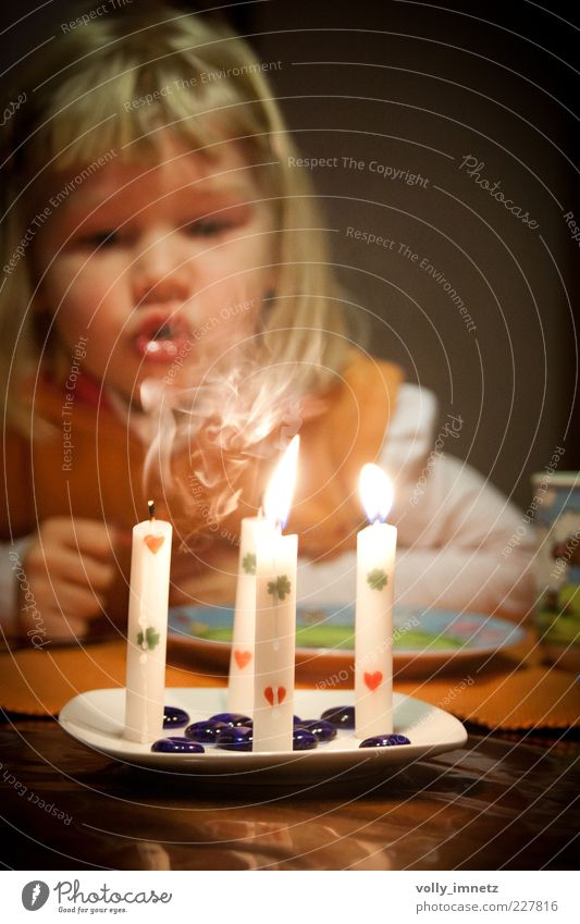 Human being Child White Beautiful Yellow Life Small Happy Feasts & Celebrations Infancy Blonde Heart Birthday Decoration Candle Curiosity