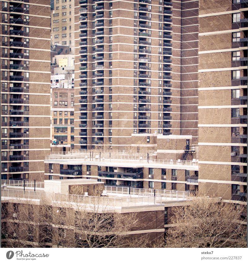 City House (Residential Structure) High-rise Gloomy Balcony Narrow New York City Prefab construction Hideous Ghetto Settlement Oppressive USA Overpopulated Development area Brick construction