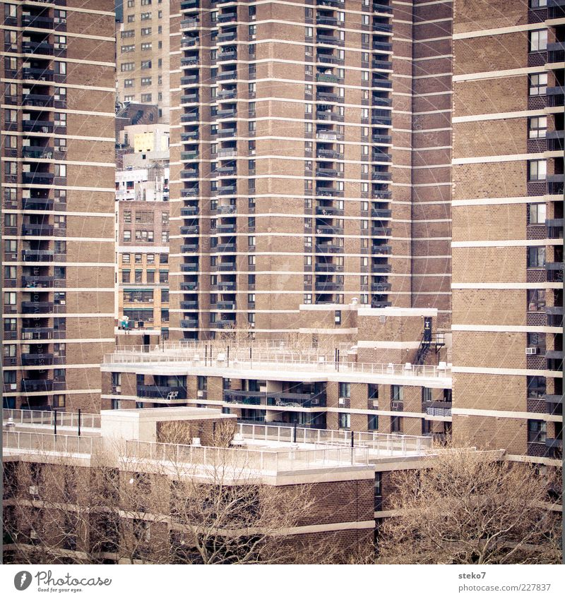 City House (Residential Structure) High-rise Gloomy Balcony Narrow New York City Prefab construction Hideous Ghetto Settlement Oppressive USA Overpopulated