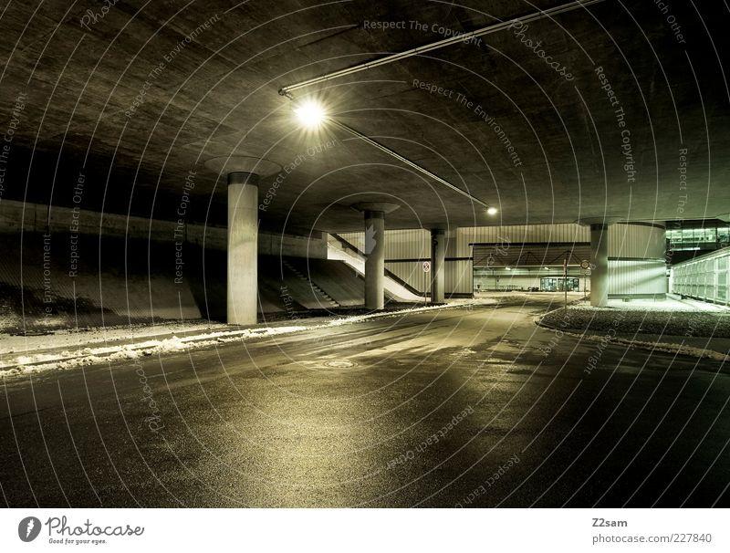 Winter Street Dark Architecture Modern Esthetic Bridge Perspective Simple Manmade structures Tunnel Traffic infrastructure Floodlight Sharp-edged Highlight