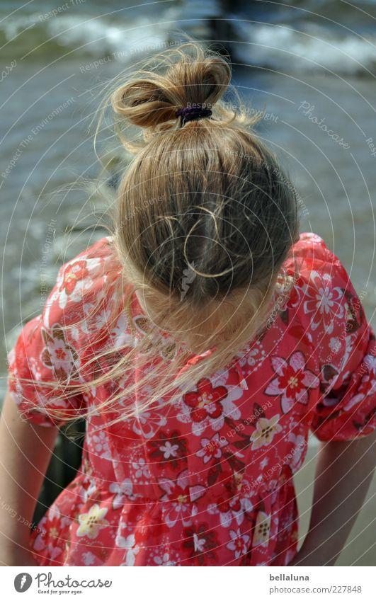 Water Girl Summer Beach Ocean Head Hair and hairstyles Waves Blonde Wind Braids Strand of hair Looking Girlish Summer dress