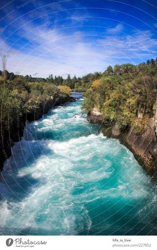 Sky Nature Water Blue Summer Forest Life Environment Rock Wet Wild River Beautiful weather Turquoise Bubbling Current