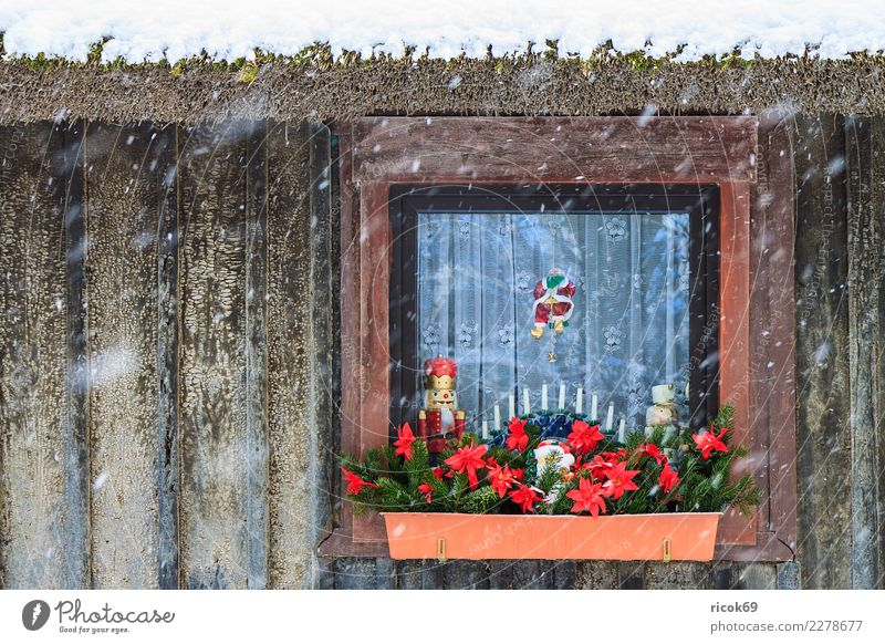 Christmassy decorated window in winter Relaxation Vacation & Travel Winter House (Residential Structure) Decoration Christmas & Advent Nature Climate Weather