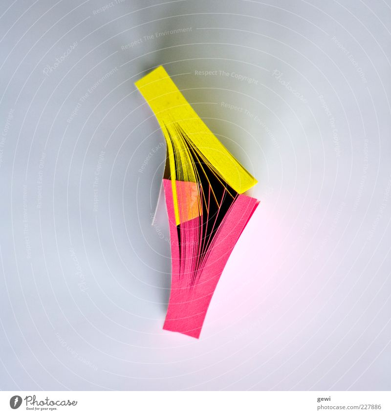 Yellow Pink Design Workplace Abstract Piece of paper Block Bird's-eye view Stationery Warning colour
