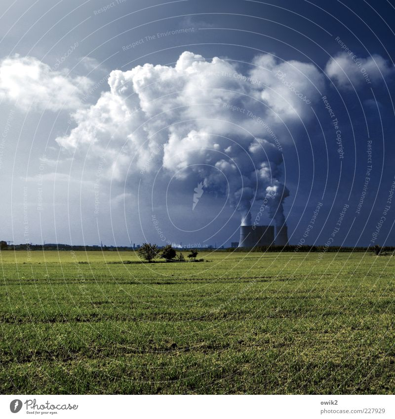 Sky Nature Plant Clouds Environment Landscape Grass Germany Field Horizon Energy industry Climate Beautiful weather Destruction Steam Industrial plant