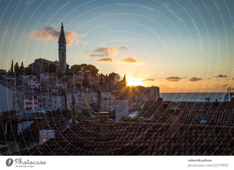 Sunset in Rovinj Vacation & Travel Tourism Trip Sightseeing Cruise Summer Summer vacation Ocean Architecture Beautiful weather Small Town Old town Skyline