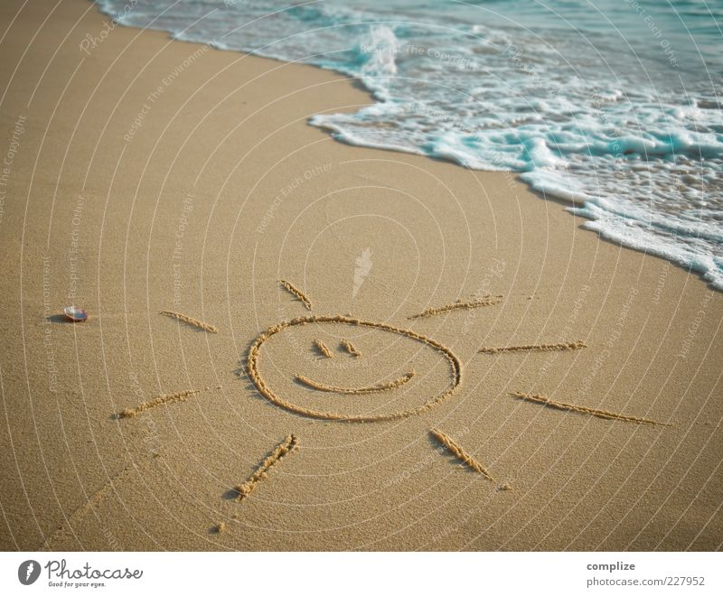 Beach & Sun Well-being Relaxation Vacation & Travel Tourism Freedom Summer Summer vacation Sunbathing Ocean Waves Beautiful weather Coast Sign Smiling Laughter