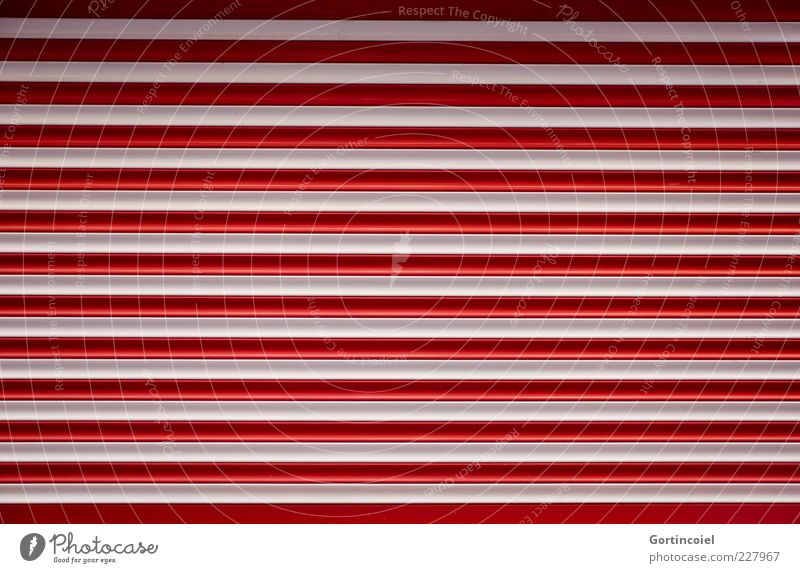 Closed today Gate Red White Stripe Striped Line Roller shutter Garage door Highway ramp (entrance) Rolling door Colour photo Exterior shot Pattern Shadow