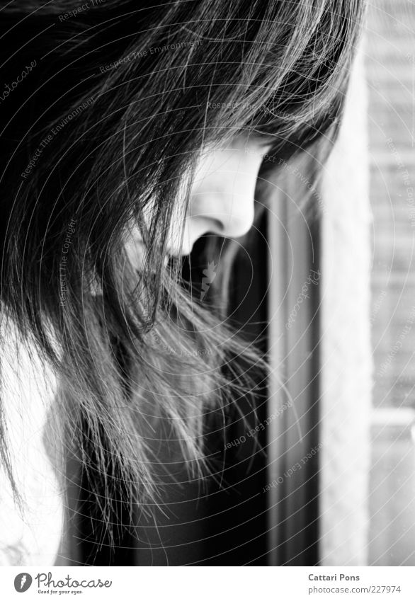 Human being Youth (Young adults) Face Feminine Think Sadness Dream Wait Nose Car Window Long-haired Young woman Indifference