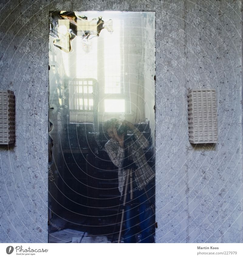 Human being Old Adults Lamp Room Photography Living or residing Retro 45 - 60 years Mirror Wallpaper Nostalgia Photographer Take a photo Hideous Self portrait