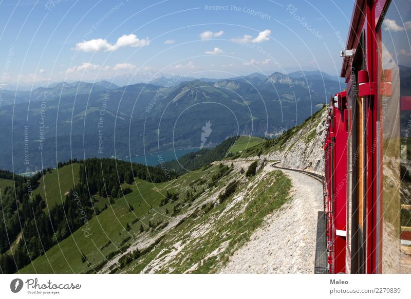 Alps Steamlocomotive Cog railway sheep's mountain Lake Wolfgang Bergen Vacation & Travel Summer Railroad Tourist Passenger traffic Retro Mountain Train station