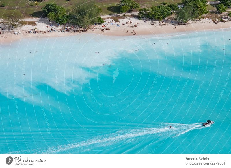 A beach of the Caribbean island Antigua Luxury Joy Swimming & Bathing Leisure and hobbies Water ski Water-skier Vacation & Travel Tourism Far-off places Summer