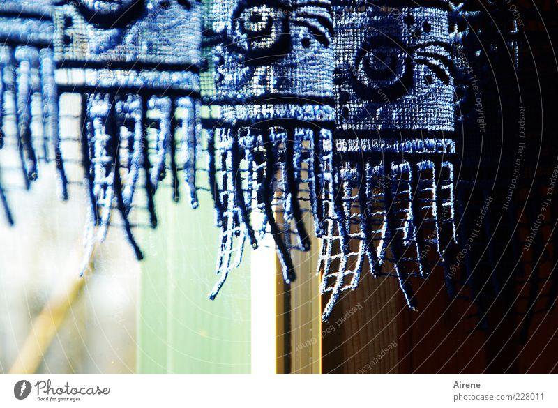 Blue White Green Beautiful Black Window Wood Bright Glass Esthetic Cloth Decoration Kitsch Hang Nostalgia Lace