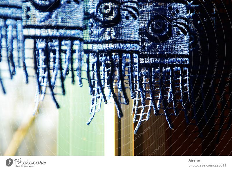 Blue White Green Beautiful Black Window Wood Bright Glass Esthetic Cloth Decoration Kitsch Hang Nostalgia Lace